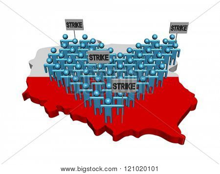 workers on strike on Poland map flag illustration