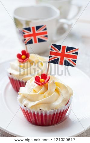 Red velvet Cupcake with small British Flag