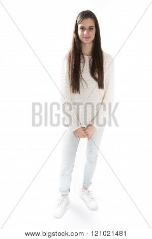 Smiling Young Woman With Folded Arms, Looking, Full Lenght,
