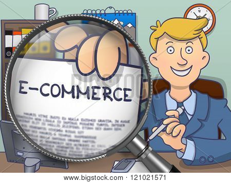 E-Commerce through Magnifier. Doodle Concept.