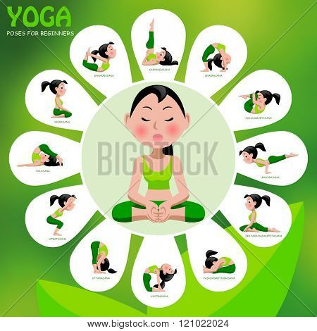 Yoga template with poses and titles on green background. Yoga Poses Infographic Elements with captions. Vector illustration.