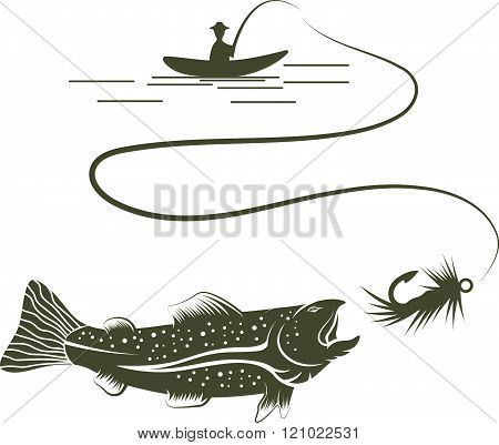 Fisherman In Boat And Salmon Vector Illustration