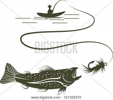 Fisherman In Boat And Salmon Vector Illustration