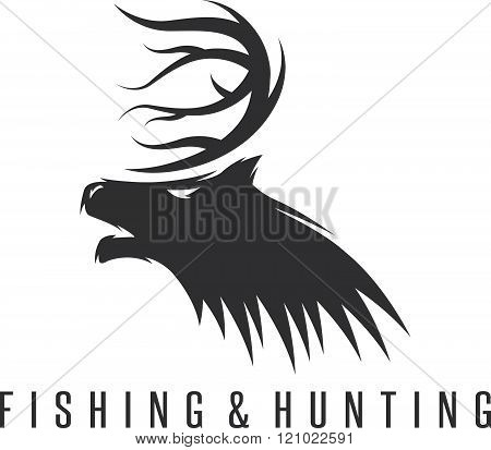 Hunting And Fishing Vintage Emblem Vector Negative Space Concept