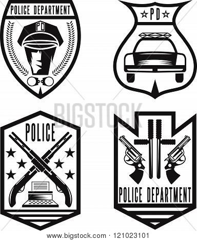 Set Of Vintage Police Law Enforcement Badges