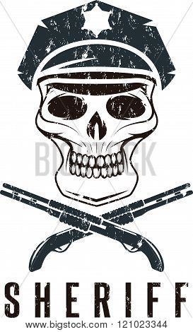 Sheriff Skull In Cap And Shotguns Grunge Vector Design Template