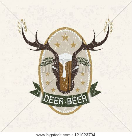 Deer Beer Negative Space Concept Grunge Vector Label