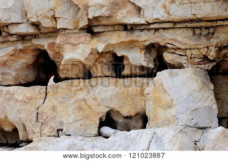 Background stratified and fractured limestone eroded by the sea and wind