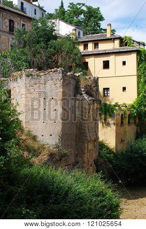 Moorish ruin and River Darro, Granada.