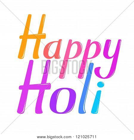 Happy Holi vector lettering