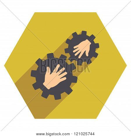 Contact Gears Flat Hexagon Icon With Long Shadow