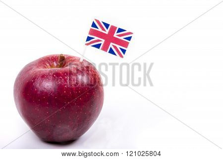Red Apple With British Flag