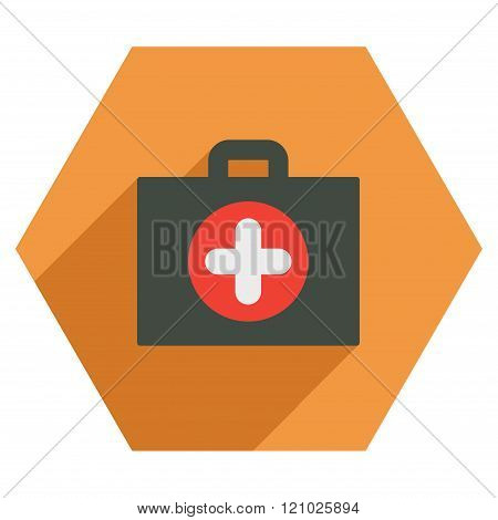 First Aid Case Flat Hexagon Icon With Long Shadow