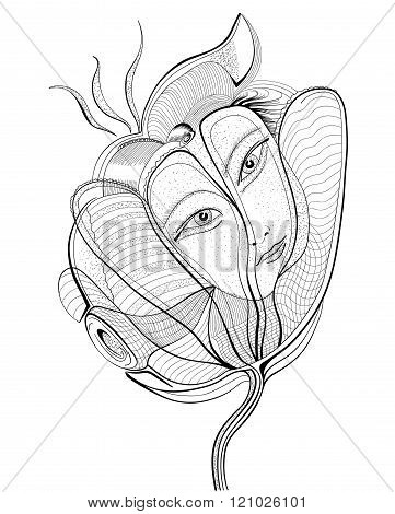 Surreal Hand Drawing Flower With Female Face. Abstract Graphic Design.