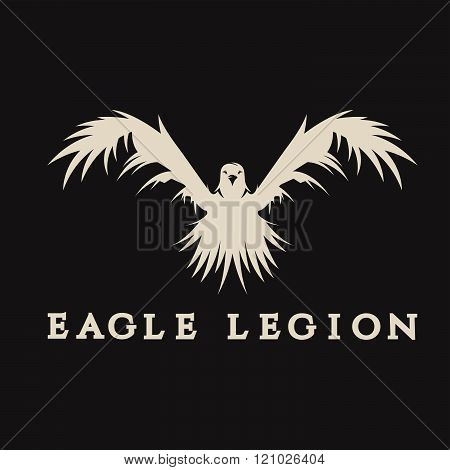 negative space vector concept of warrior heads in eagle