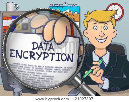 Data Encryption through Lens. Doodle Concept.