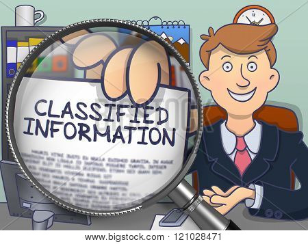 Classified Information through Magnifying Glass. Doodle Design.