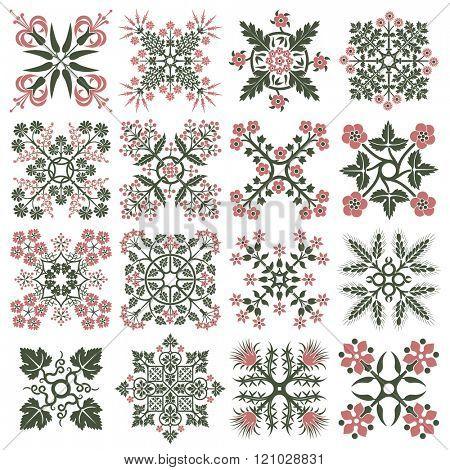 Floral style design elements. Vector illustration.