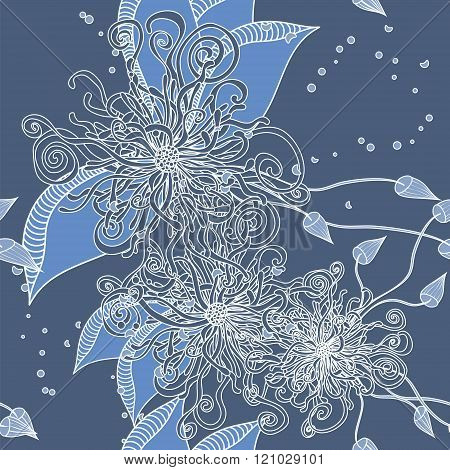Seamless Floral Doodle Background Pattern With Leaves. Design  Zentangle. Decorative Background.