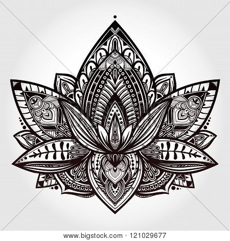 Vector ornamental Lotus flower .