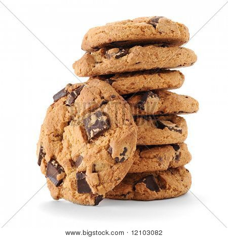Imagem de close-up extrema de chocolate chips cookies