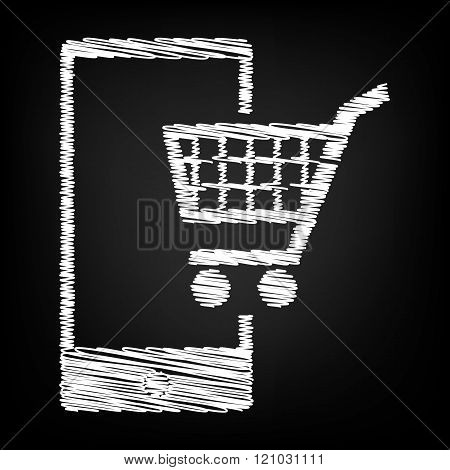 Shoping on smart phone sign