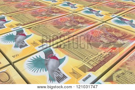 Trinidad and Tobago dollar bills stacks background. Computer generated 3D photo rendering.