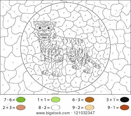 Cartoon Saber-toothed Tiger. Color By Number Educational Game For Kids