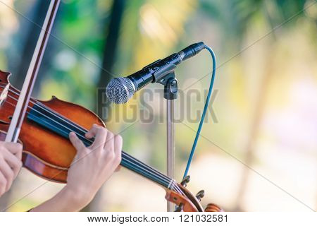 Black Color Microphone And Violin Playing In Outdoor Concert.