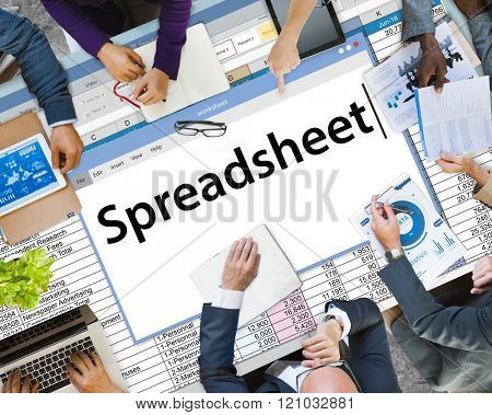 Spreadsheet Documents Data Analysis Worksheet Concept