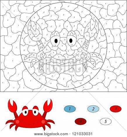Cartoon Crab. Color By Number Educational Game For Kids