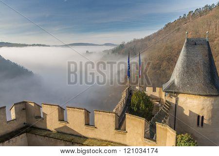 Karlstein,czech Republic - February 6  2016: Karlstein Castle Ramparts