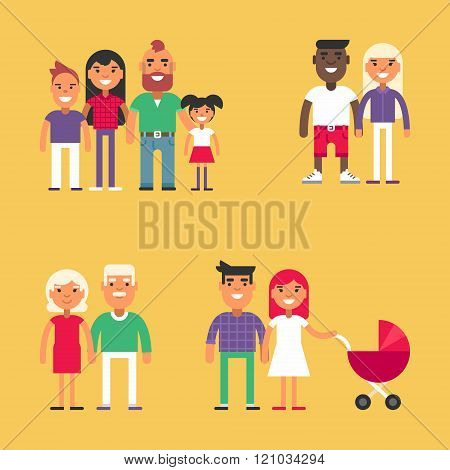 Set of Happy Families. Parents with Children. Father, Mother, Children, Grandfather, Grandmother, Siblings, Wife, Husband. People Set for Infographics and Promotional Materials