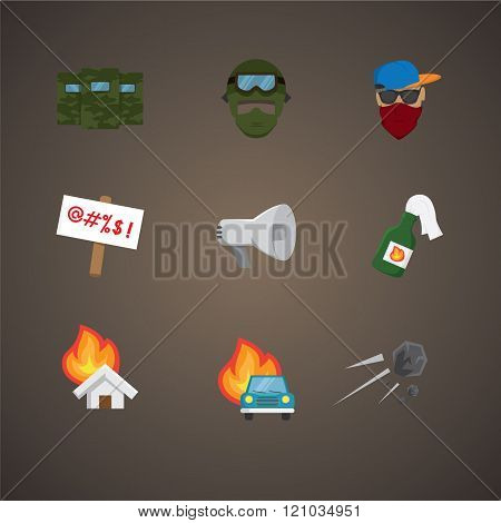 Simple set of protest related vector flat icons