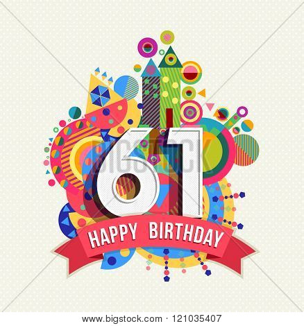 Happy Birthday 61 Year Greeting Card Poster Color