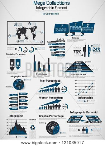 Retro Infographic Demographic World Map Elements Blue
