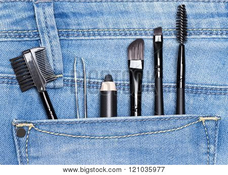 Accessories For Care Of The Eyebrows In Jeans Pocket