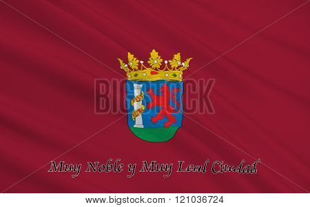 Flag Of Badajoz Is The Capital Of The Province Of Badajoz, Spain