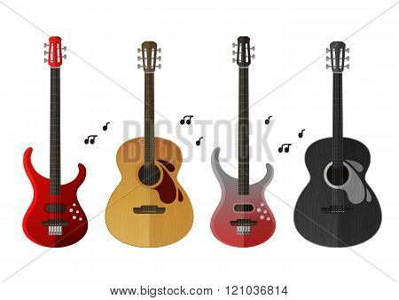 musical instruments icons set. electric guitar and classical guitar isolated on white background