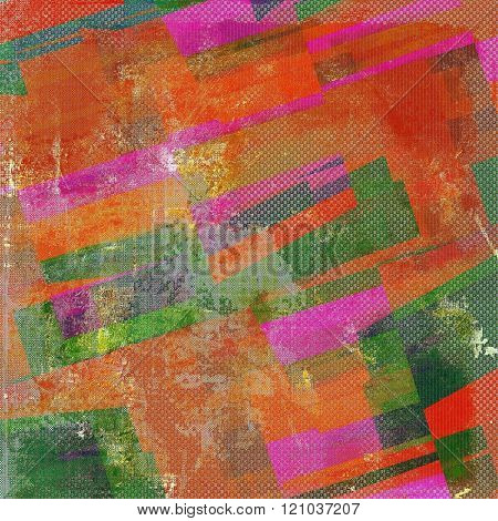 Geometric rough grunge texture. With different color patterns: brown; green; red (orange); pink