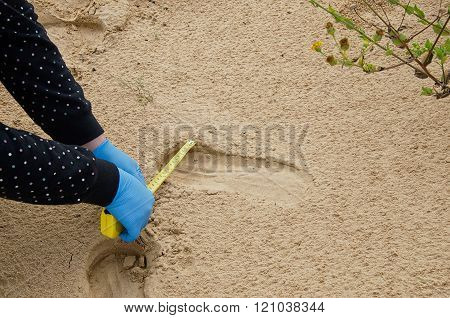 Forensic Expert Is Measuring The Shoe Print Width