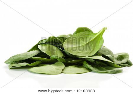 Image of spinach and with white background