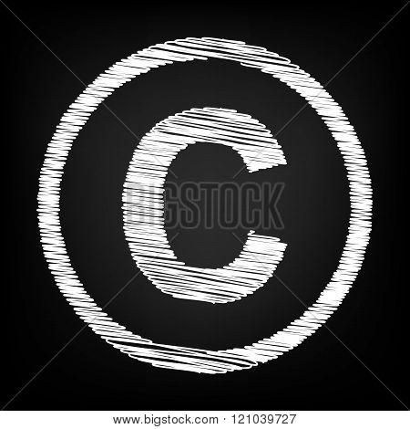 Copyright sign. Scribble effect