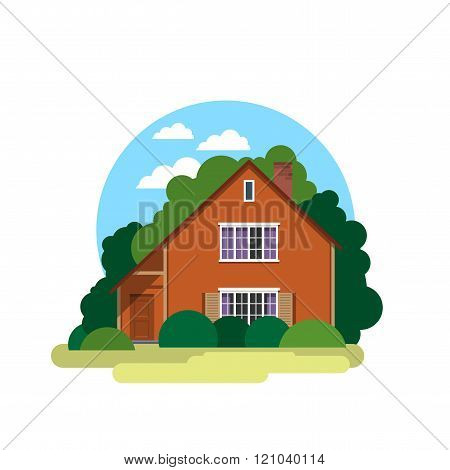 House. Sweet Home. Illustration In A Flat Style
