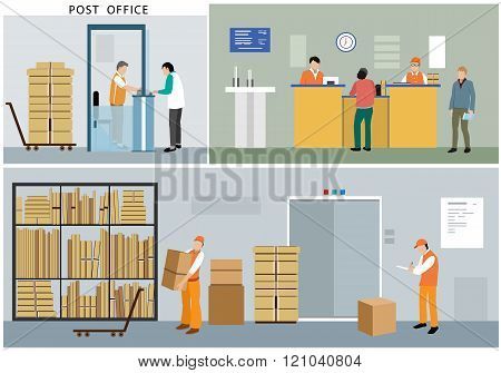 Flat design of post office service.