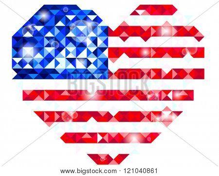 Heart shaped US flag