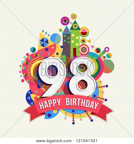 Happy Birthday 98 Year Greeting Card Poster Color