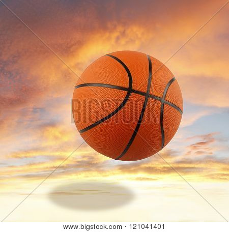 Basketball bouncing in the sky