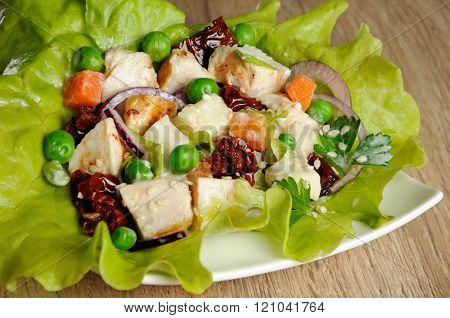 A Portion Of Salad In Lettuce Leaves