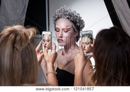 Backstage Photo Of Model Wearing Creative Makeup